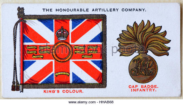 The Honourable Artillery Company regimental standard and cap badge - Stock Image
