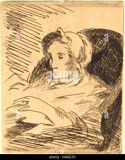 Edouard Manet, French (1832-1883), The Convalescent (La convalescente), 1876-1878, etching in dark brown on laid - Stock-Bilder