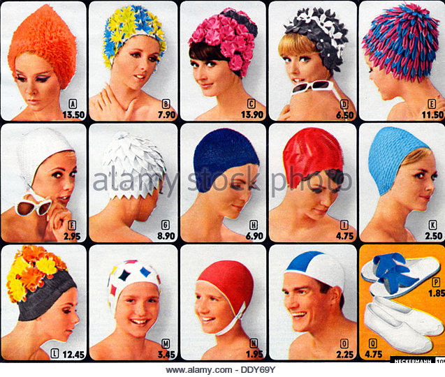 Swimming caps, c1960s(?). - Stock-Bilder