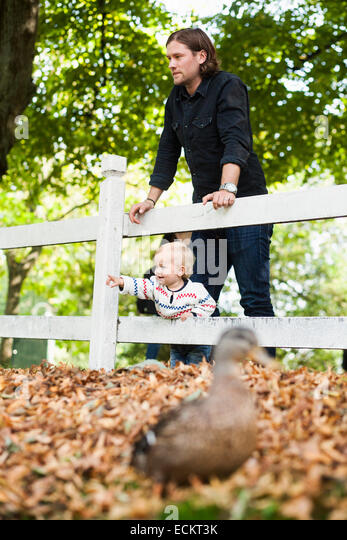 Baby girl showing something to father at park - Stock Image