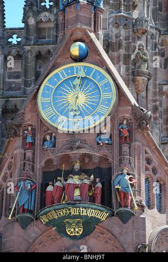 The artistic clock on Frauenkirche Nuremberg Germany Nurnberg Deutschland Europe - Stock-Bilder