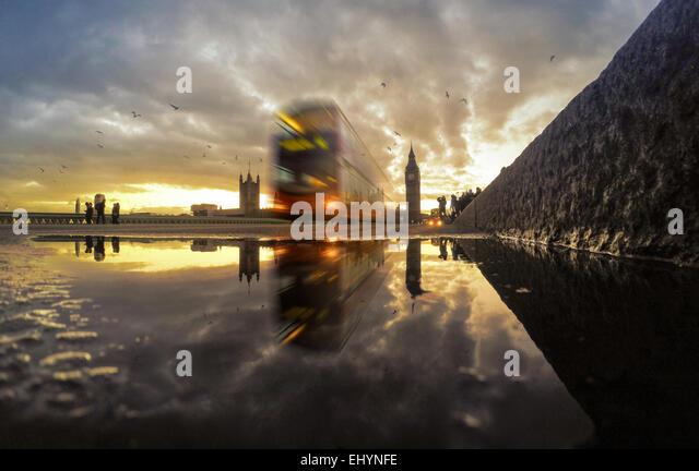 Westminster Bridge at sunset, England, UK - Stock Image