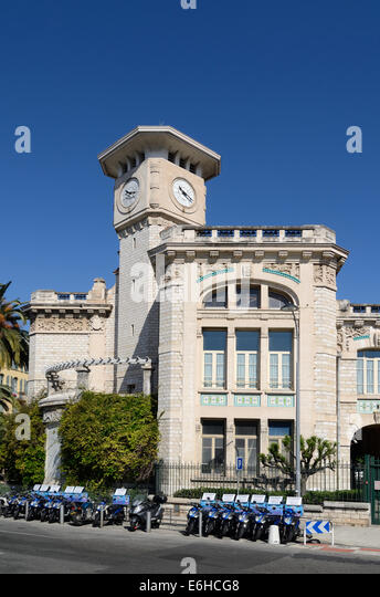 Iconic Clock Tower of the Belle Epoch era Lycée Massena or Massena High School Nice Alpes-Maritimes France - Stock-Bilder