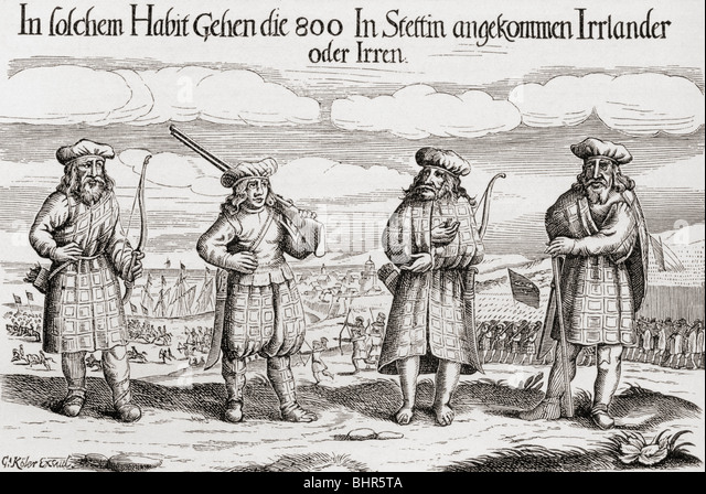 Irish Soldiers in service of Sweden's King Gustavus Adolphus in 1631. - Stock Image