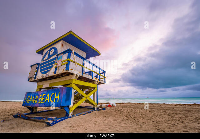 Miami Beach, Florida, USA life guard tower. - Stock Image