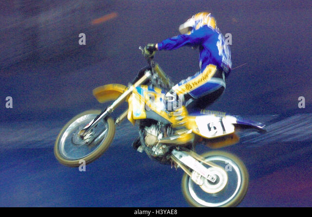 Moto cross drivers, crack, motor sport, motorcycle sport, motorcycle, cross machine, cross driver, jump, skill, - Stock Image