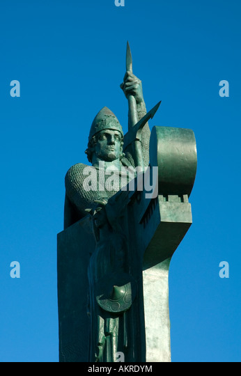 Statue of Ingólfur Arnarson, by Einar Jónsson, Reykjavík, Iceland - Stock Image