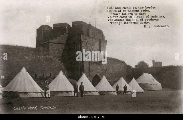 British Army camp in the Castle Yard, Carlisle Castle, Carlisle, Cumbria, England. The card bears a really quite - Stock Image