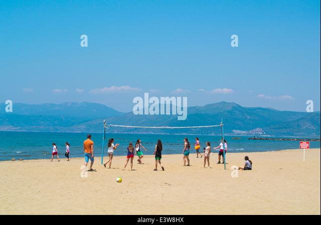 Volleyball game, Pamucak beach, near Kusadasi, Turkey, Asia Minor - Stock Image