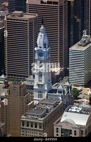 aerial above City Hall downtown Philadelphia Pennsylvania PA - Stock Image
