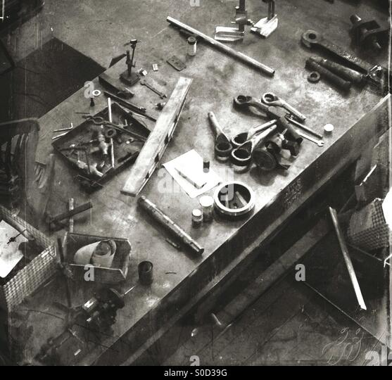 Aerial view of a workman's tool bench - Stock Image