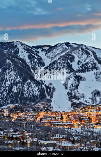 Aspen Mountain and Aspen, Colorado USA - Stock-Bilder