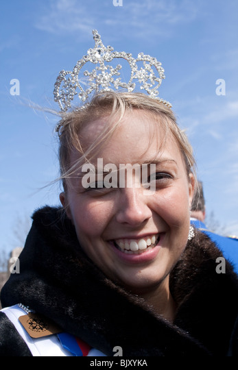 Winter Carnival Princess enjoying festivities and participating in the parade. St Paul Minnesota USA - Stock Image