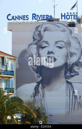 France, Alpes Maritimes, Cannes, Boulevard d'Alsace, Marilyn Monroe mural, Compulsory Mention - Stock Image