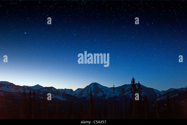 Star filled sky from Monarch Pass, Sawatch Range, Chaffee County, Colorado, USA - Stock Image