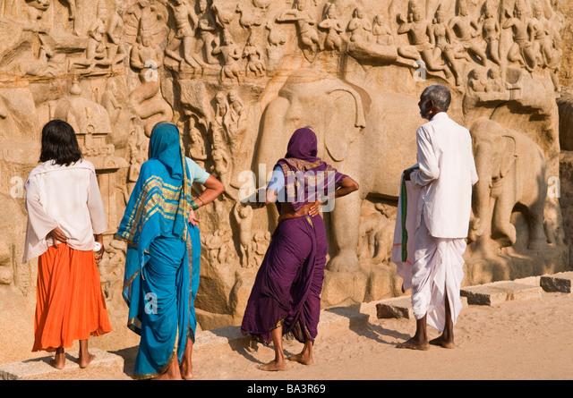 Local tourists at Arjuna's Penance Mahabalipuram Tamil Nadu India - Stock Image