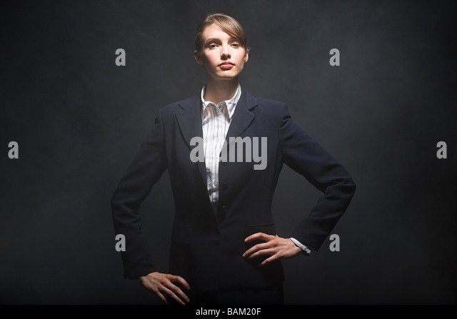 Businesswoman in smoke - Stock Image