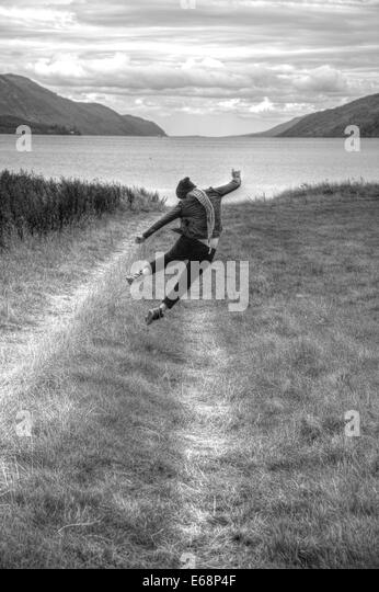 The outburst expressing joy after reaching the final destination Loch Ness in Scotland - Stock Image