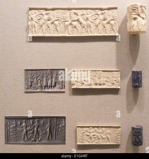 Cylinder Seals from Mesopotamia, Akkadian period circa 2500-2100 BC - Stock Image
