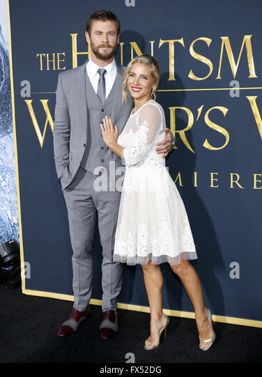 Los Angeles, California, USA. 11th Apr, 2016. Chris Hemsworth and Elsa Pataky at the Los Angeles premiere of 'The - Stock Image