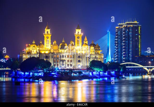 Fuzhou, Fujian, China cityscape on the Ming River. - Stock-Bilder