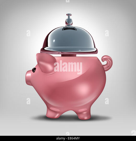 Bank service concept as a piggy bank shaped as a hospitality servicing bell as a symbol for good banking customer - Stock Image