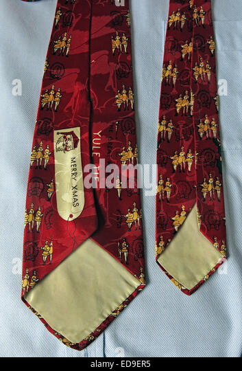 Interesting Merry Xmas US vintage tie, male neckware in silk - Stock Image