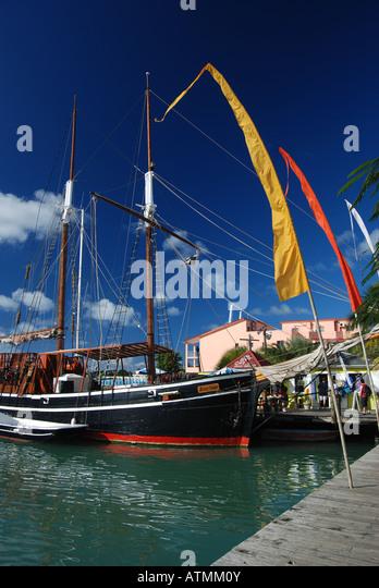 Boats around Redcliffe Quay, St John's Antigua, Caribbean - Stock Image