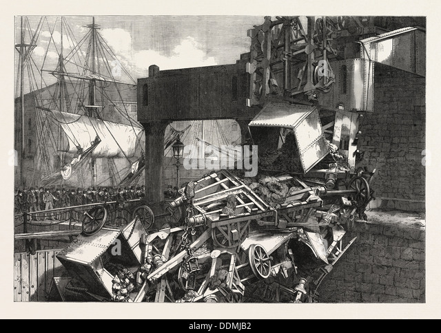 THE LATE CATASTROPHE ON THE VALE OF NEATH RAILWAY AT SWANSEA, UK, 1865 - Stock Image
