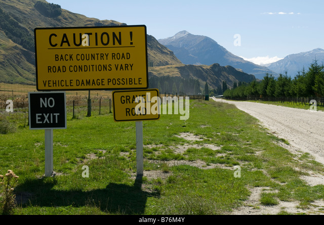 Back Country road sign near Glenorchy, South Island, New Zealand - Stock Image