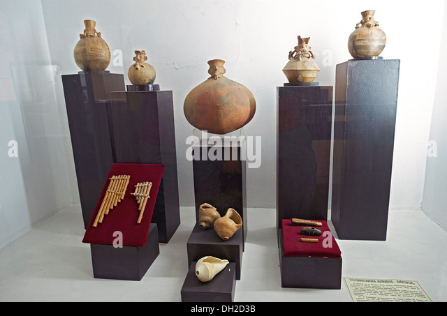 Artifacts at the Archeology Museum of Ancash,Huaraz, Peru. - Stock Image