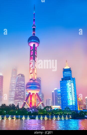 Evening view at Oriental Pearl TV Tower, Pudong, Shanghai, China - Stock Image