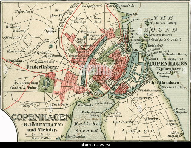 Map of Copenhagen - Stock Image
