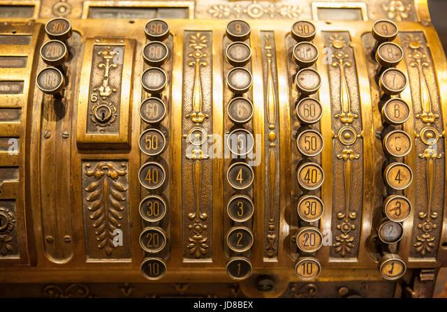 Antique metal cash register. Selective focus - Stock Image