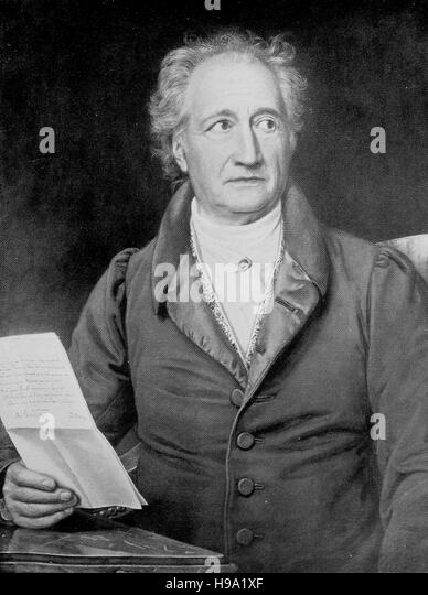 Johann Wolfgang von Goethe, 28 August 1749 - 22 March 1832, was a German writer and statesman, historical illustration - Stock Image