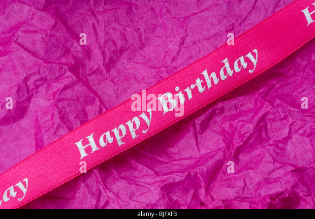 Birthday Ribbon - John Gollop - Stock Image