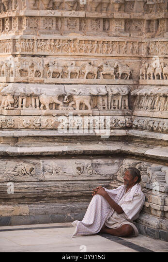 Hindu, religion, Jagdish, temple, Udaipur, Rajasthan, Asia, man, traditional, frieze, animals, - Stock Image