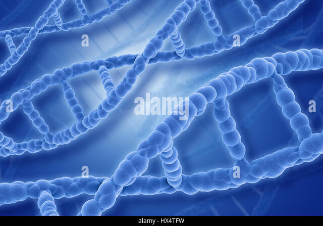 Medical background with 3D DNA stands - Stock Image