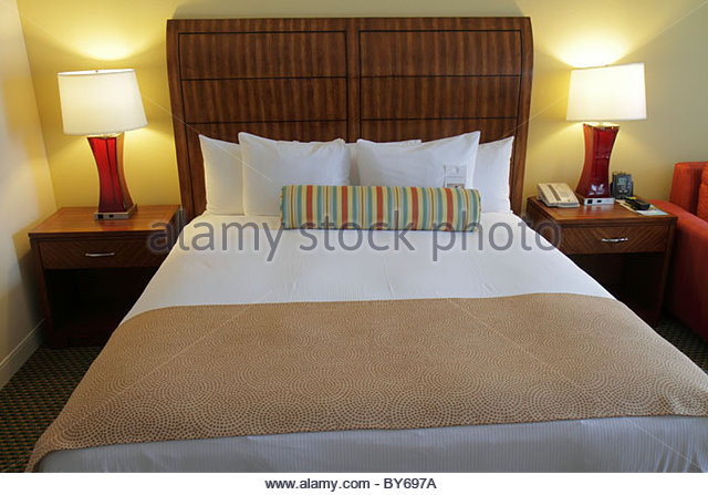 Miami Florida Biscayne Boulevard Hilton Miami Downtown hotel guest room bed - Stock Image