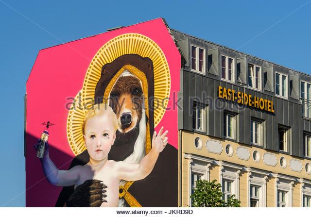 East Side Hotel, Friedrichshain, Mural, Graffiti, Berlin, Germany - Stock Image