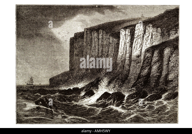 Beachy Head East Sussex foot cliff  bad weather storm waves cloud wind boat foam coast inshore nautical UK GB shore - Stock Image