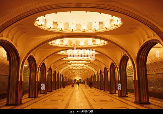 Russia former Soviet Union Moscow Myakorvskya Metro Station subway system - Stock Image