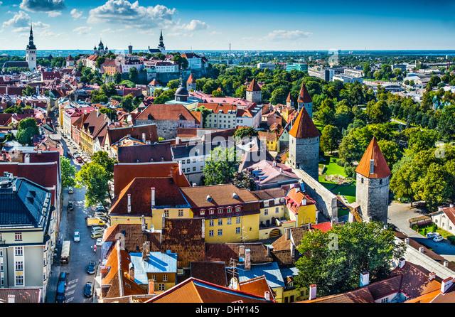 Dawn in Tallinn, Estonia at the old city. - Stock Image