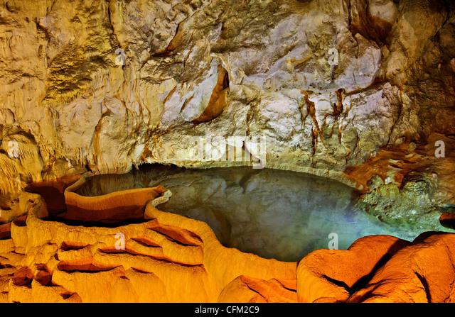 The 'Cave of the Lakes' ('Spileo Limnon') close to Kalavryta town, mountainous Achaia, Peloponnese, - Stock-Bilder