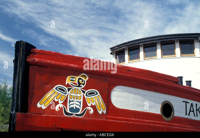 Alaska tug boat Nenana Tlingit Indian art - Stock Image
