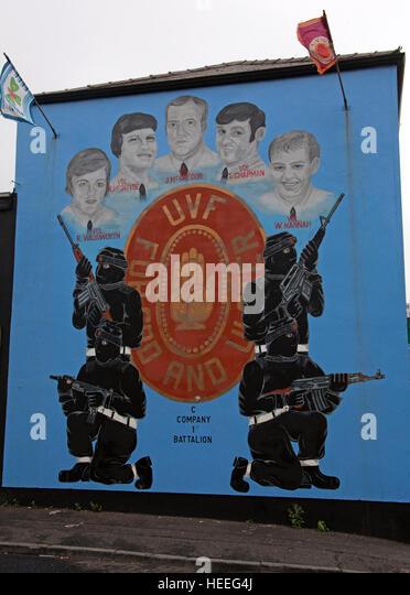 Belfast Unionist, Loyalist UVF Mural C-Company,1st Battalion Wadsworth,McIntyre,McGregor,Chapman,Hannah - Stock Image