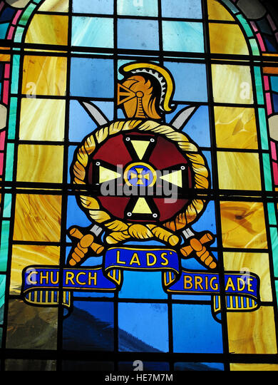 St Annes Belfast Cathedral Interior,church lads brigade stained glass - Stock Image