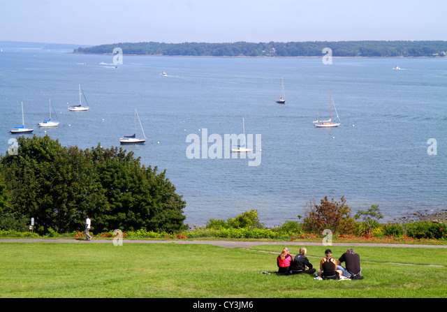 Portland Maine Casco Bay Fort Ft. Allen Park scenic lawn - Stock Image