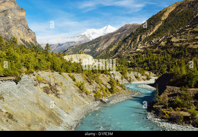 Marsyangdi River Valley, Annapurna Conservation Area, Gandaki, Western Region (Pashchimanchal), Nepal, Himalayas, - Stock Image
