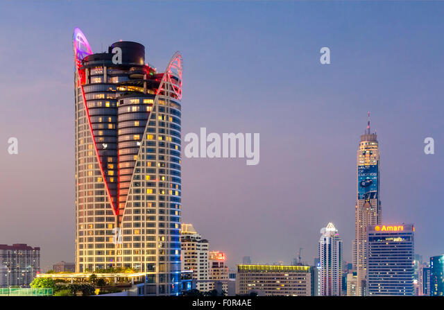 Bangkok Skyline with Centara Grand Tower and Baiyoke sky Hotel - Stock Image